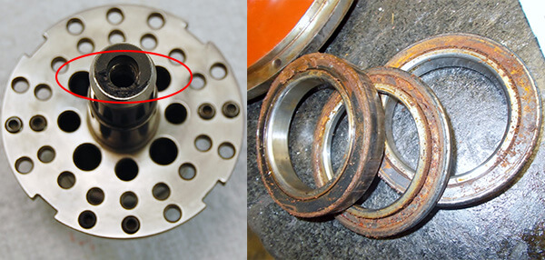 Damaged Ceramic Seal Rotary Union_Contaminated Bearings_Franz Kessler Spindle