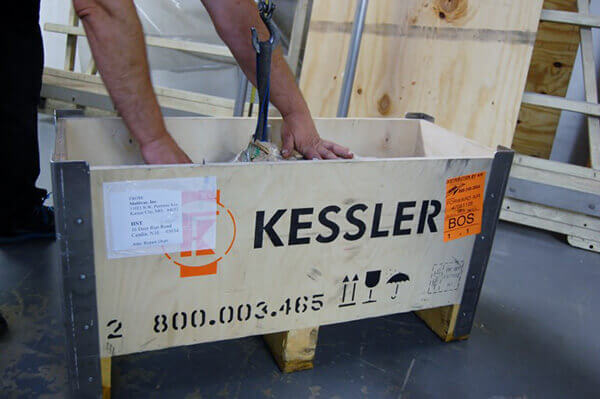 Rust inhibiting coating, foam packing, water repellent wrap and a stout crate help insure that your Franz Kessler spindle will arrive in perfect condition.