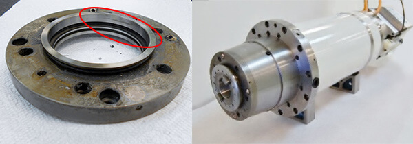 Front cover damaged from a crash. This Franz Kessler spindle is ready to ship back to Boeing good as new
