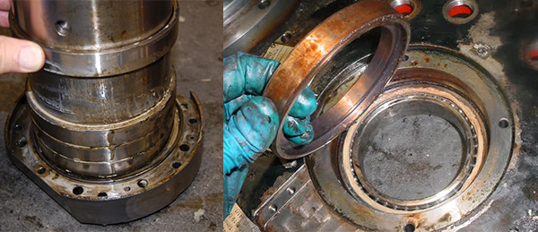 Liquid contamination is clearly seen in the left photo. Notice the fretting corrosion on right side photo. This is indicative of a loose fit.