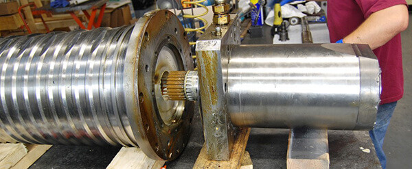 Two halves of a Franz Kessler spindle coming apart. Note the spline connection.