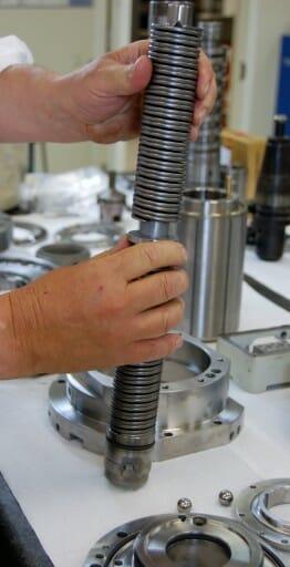 Mazak Integrex spindle repair and rebuild_assembling a drawbar with new springs
