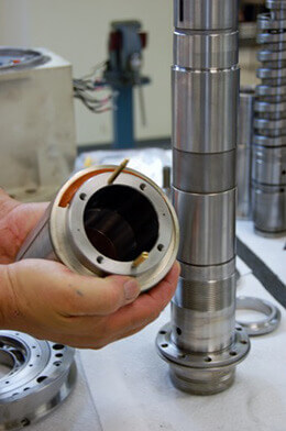 Mazak Integrex Series Spindle Repair. Resetting hydraulic rotor on a Mazak Integrex spindle.