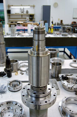 Mazak Integrex Series Spindle Repair. Resetting a hydraulic rotor on a Mazak Integrex spindle.