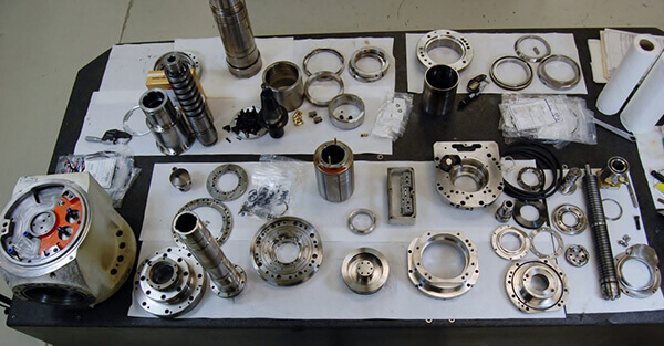 Mazak Integrex spindle repair and rebuild_components laid out for pre-assembly inspection