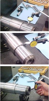 Some of the shaft surfaces checked for TIR, concentricity, perpendicularity. Measurements are in microns.