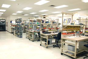 Our assembly area is specifically laid out for spindle repair. Filtered air-conditioned environment, clean-room ceiling tiles and epoxy seal floor are a few of the considerations included in our modern spindle repair facility.