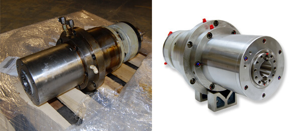 On the left is the Hyundai Wia VX-400 spindle as we received it. On the right is the same spindle just before it was crated for shipment