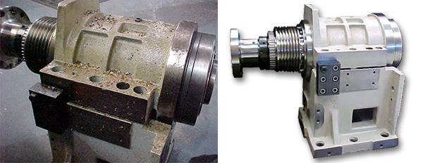 On the left is the Hyundai Wia lathe spindle as received. On the right is how it shipped.
