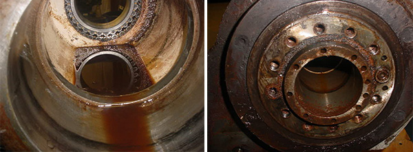 daewoo spindle repair Missing O-rings allowed liquid contaminate to inundate the interior of the spindle resulting in rapid bearing failure