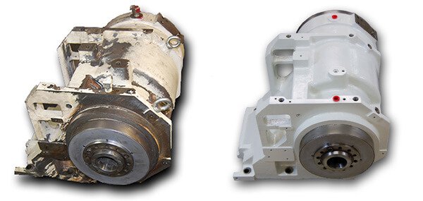 Before and after an Okuma LU15 lathe spindle repair. Turning Centers and Lathes Spindle Repair