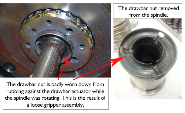 Worn Drawbar Nut Saccardo spindle