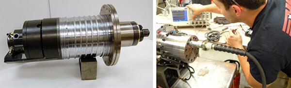 HSD-ES721-Spindle rebuild complete and ready to ship. HST tech checking sensor outputs.