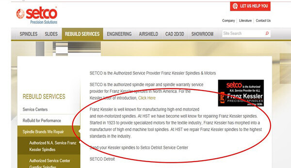 SETCO Web page extolling the quality of HST spindle repairs. Thanks SETCO for saying such nice things about us. Sorry we can't say the same for you.