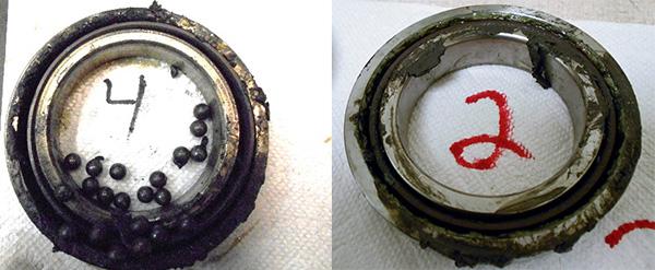 SETCO Spindle Repair. Badly contaminated bearings from the SETCO spindle, these are it's #2 & 4 bearings