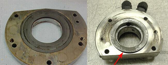 Spindle repair and rebuild_axial bearing liquid contamination