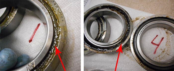 Mitsubishi spindle repair and rebuild_oil contamination within bearing