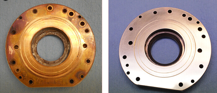 Loadpoint Spindle Repairand rebuild_outer thrust bearing before and after